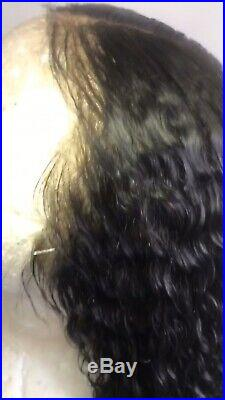 100% Curly Brazilian Human Hair Glueless Lace Frontal Wigs with Baby Hair. 20