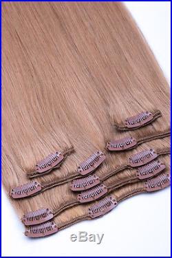 100 % Echthaar 60 cm / 70 cm Haarverlängerung Clip In Extensions 7 teiliges Set