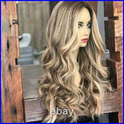 100% Full Lace Human Hair Wig Ombre Brown to Blonde Real Lace Front Wig