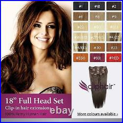 18 Inch Human Hair Extensions, Full Head Clip-In. 100% Real Remy Human Hair