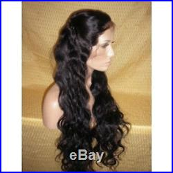 18 lace front wig curly 100% indian remy human hair long wig 1# jet black