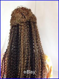 22 KINKY CURLY / WAVY, #1b /#30/#24 Two tone, FULL LACE Wig, 100% Human Hair