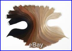 40 Echthaar Haarverlängerung Tape Extensions Skin Weft ca. 50cm Alle Farben