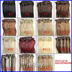 AAA Grade Full Head Clip in on Real Human Hair Extensions Black Brown Blonde Red