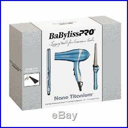 Babyliss Pro Holiday Nano Titanium Hair Dryer 1 Flat Iron Curling Iron 3 Pc Set