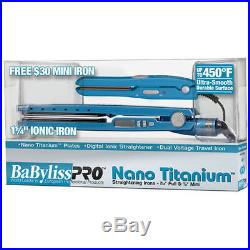 Babyliss Pro Nano Titanium 450 Led 1.25 Blue Free Mini Travel Flat Iron Set