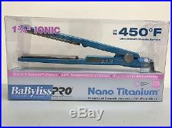 Babyliss Pro Nano Titanium Blue Flat Iron 1.75 Inch, NIB