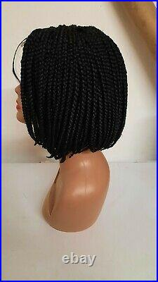 Black Bob box short Braided Wig, with Lace part