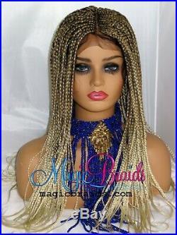 Blond wig- 4 by 4 closure- braided wig- Cornrow braided- Handmade- box braids