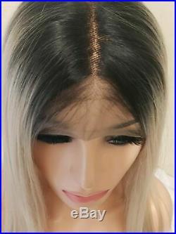 Blonde Human Hair Wig, Bleach Blonde, Short Bob Centre Part Ombre lace front Wig