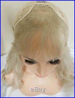 Blonde human hair wig light white platinum transparent front lace bangs fringe