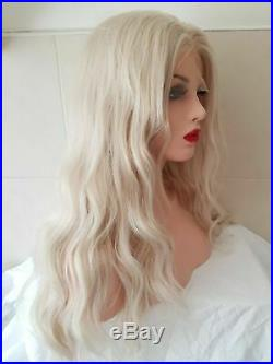 Blonde human hair wig real hair clear lace front white light blonde transparent
