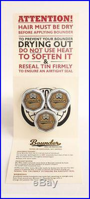 Bounder extra-firm moustache / mustache wax pack of 3 x 10g tins