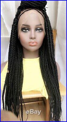 Box Braid Handmade On 360 Lace Front Human Hair Wig