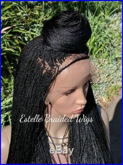 Braided Wig, Full Frontal Lace Wig With Baby Hair, Micro Twists, Full Density