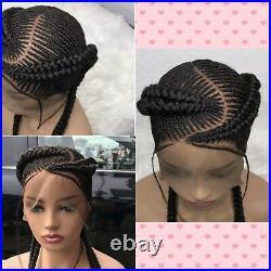 Braided wig beautiful handmade cornrow feedin braid wig. Full lace braided wig