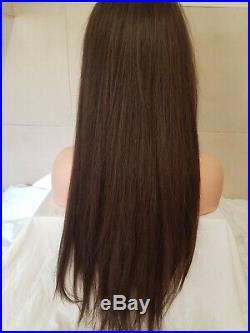 Brown Human Hair Wig Long Dark Brown Fringe Long Bangs Lace Front Colour 4