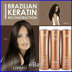Cadiveu Brasil Cacau Eco Brazilian Keratin Treatment 3 Steps 1 Liter Each