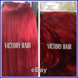 Celebrity Bright Red Straight Swiss Lace Front Wig. Long. Human Hair Blend