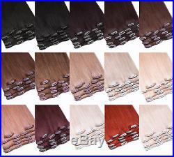 Clip in Remy Echthaar Hair Extensions Haarverlängerung 60cm 100g clips 7 Tressen