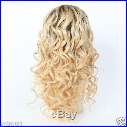 Custom Full Lace European Virgin 2 Tone #9/24 Curly Human Hair Wig 18