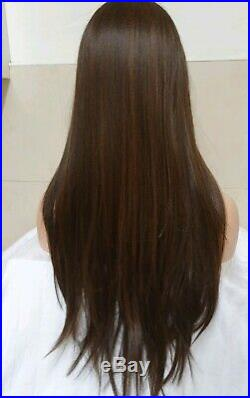 Dark Brown Human Hair Wig Lace Front Real Hair Wig Light Brown Highlights Wig