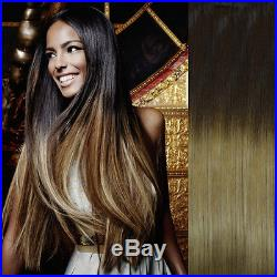 Extra Thick Balayage Ombre Clip In Remy Human Hair Extensions Brown Blonde 4/27