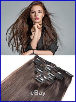 Extra Thick Fullhead Long Clip In Remy Human Hair Extensions Brown Blonde Black