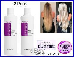 Fanola Shampoo No Yellow Remove Lightened Decolored Grey Silver Hair 350ml 2 Set