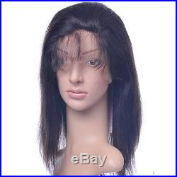 Front lace wig full wigs 100% remy indian human hair silky straight #1b black