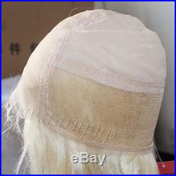 Full Lace Wig Lace Wigs 100% Real Indian Remy Human Hair Silky Straight Blonde