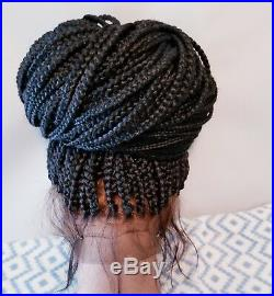 Fully Hand Braided 360 Lace Frontal Box Braids Braidwig Color 2, Mesh Lining