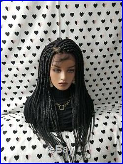 Fully Hand Braided Handmade Box Braids Wig, Lace Front Wigs color 1b Black