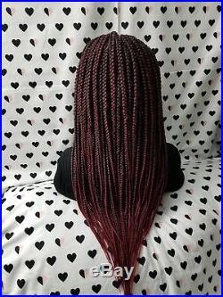 Fully Hand Braided Handmade Braid Wig Lace Front Wigs (box braid) color 1b/bug