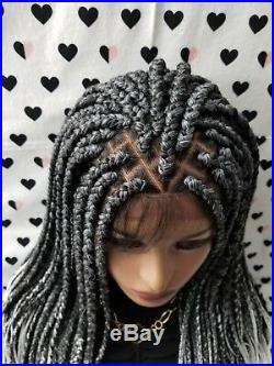 Fully Hand Braided Handmade Braid Wig Lace Front Wigs (box braid) color 1b/grey
