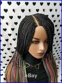 Fully Hand Braided Wig Box Braid Cornrows Lace Closure Frontal Wig, 1b/rainbow