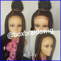 Fully hand braided lace closure box braid wig No baby hair. Mixed color