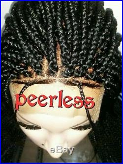 Fully hand braided lace closure box braid wig with baby hair. Color 1