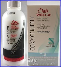 Genuine Wella Color Charm Toner Lightest Ash Blonde T18 + Option Of 20 Vol Dev