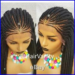 Handmade Lace Front Flat Cornrows Frontal Braided Wigs Ghana Weaving Long- Dana
