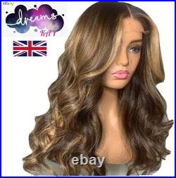 Highlights Honey Brown Blonde Lace Wig 100% Soft Human Real Hair Bodywave