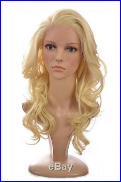 Human Hair Blend Lace Front Wig Long Wavy Blonde Lace Front Wig 3 Shades