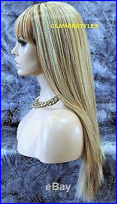 Human Hair Blend Layered Straight w Bangs Blonde Mix Full Wig Heat Ok Hair Piece