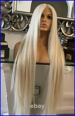 Human Hair Lace Front Blend Wig Long Blonde Wig Bleach Blonde 613