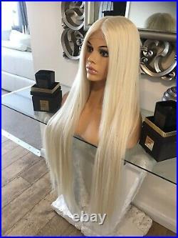 Human Hair Lace Front Blend Wig Long Blonde Wig Bleach Blonde 613 Wig Silk Top