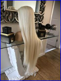 Human Hair Wig Lace Front Long Blonde Wig Bleach Blonde 613 Wig