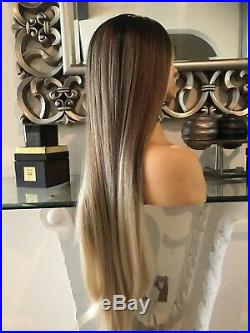 Human hair Full lace wig, Ombre Wig, lace Front Wig Blonde 360 Balayage Lace Wig
