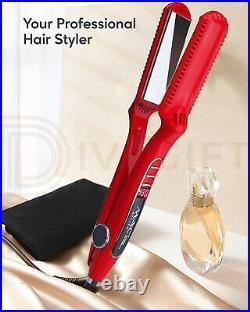 KIPOZI Professional Hair Straighteners Irons Golden Digital LCD Display UK Plug