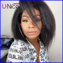Kinky Straight Wig Short Bob Wig 13x6 Lace Front Human Hair Wigs Pre plucked 12