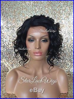 Lace Front Wig Human Hair Blend Wigs For Women Jet Black #1 Wavy Bob Heat Safe